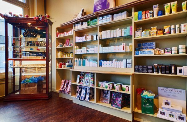 Skin care products line the shelves at Earthling Day Spa in Charleston, SC