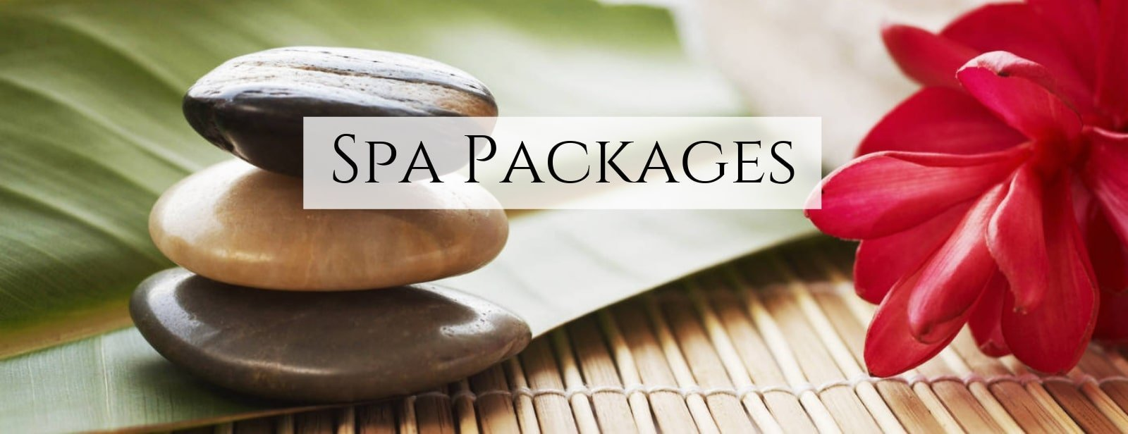 Three stones stacked on the left with a red ginger lily flower on the right to symbolize our spa day packages.